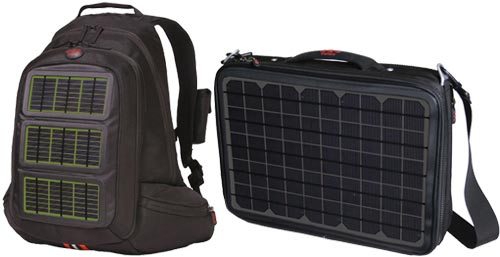 From Voltaic Systems (asi/94160), these bags come with solar panels to collect energy from the sun that can be used to power an iPod, cell phone or even a laptop.