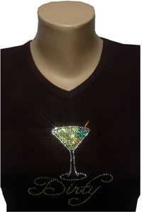 Dirty Martini Rhinestone Shirt by www.Sparkle-Plenty.com