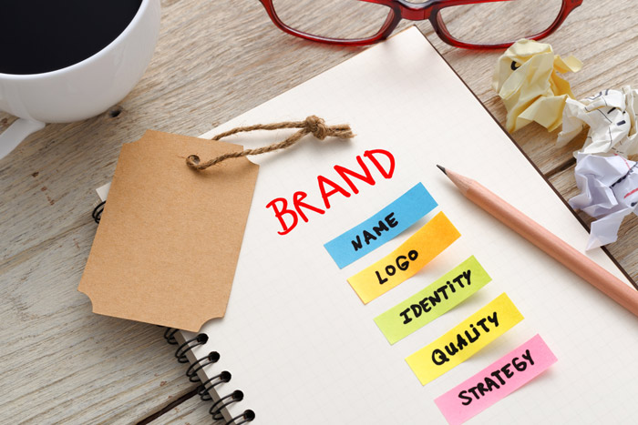 An Image representing Brand: Name, Logo, Identity, Quality, Strategy.