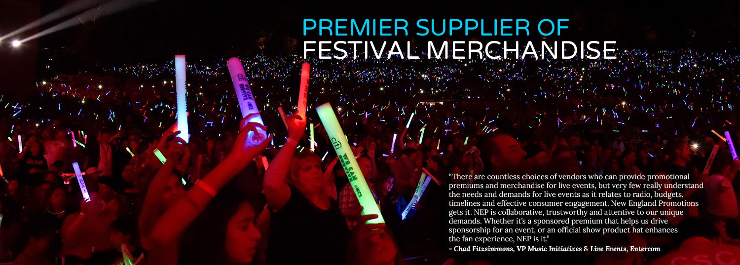 Premier Supplier of Festival Merchandise, NEP Promotions