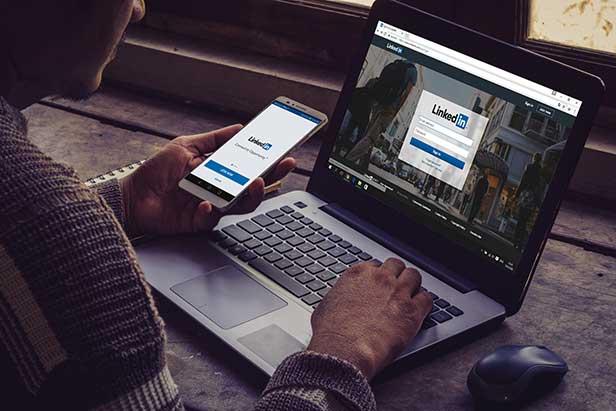 Laptop with LinkedIn
