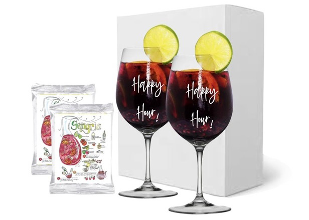 Wine glass set with sangria mix